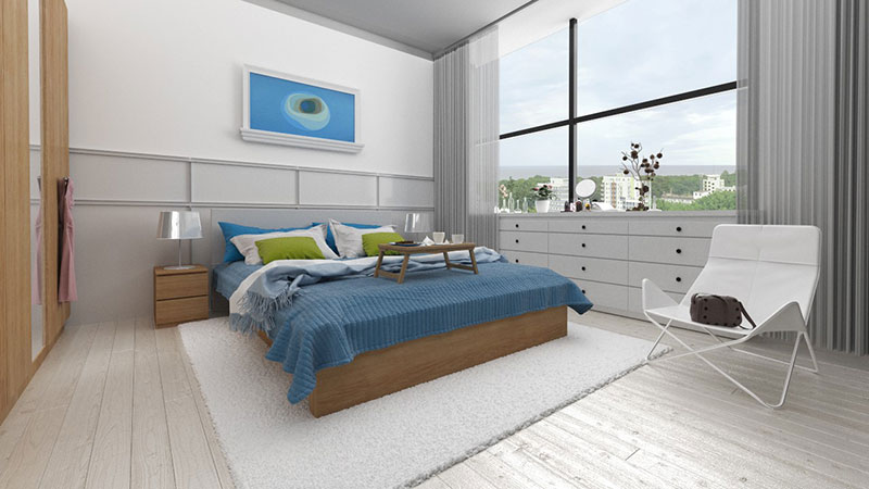 Master bedroom with view