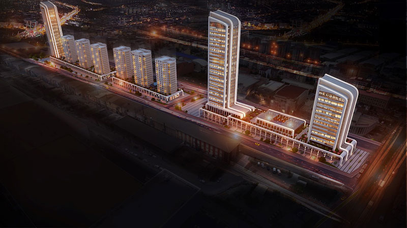 Luxury residences at night in Esenyurt Istanbul